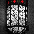 Colorful Vibrant Red Green Gothic Sconce Light Poster Edges Color Splash Digital Art by Shawn O'Brien