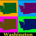 Colorful Washington State Pop Art Map by Keith Webber Jr