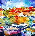 Colorful Watercolor Boats European Water Scape by Svetlana Novikova