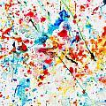 Colorful Watercolor Splash On White Paper by Michal Bednarek