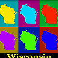 Colorful Wisconsin Pop Art Map by Keith Webber Jr