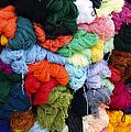 Colorful Yarn Otavalo Market Ecuador by Kurt Van Wagner