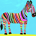 Colorful Zebra With Multicolored Stripes by Christopher Corr
