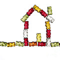 Coloured Jellybabies Formed As A House by Juergen Ritterbach