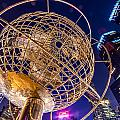 Columbus Circle Globe At Night by Val Black Russian Tourchin