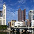 Columbus Ohio Skyline From Scioto River by Historic Vantage