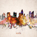 Columbus Painted City Skyline by World Art Prints And Designs