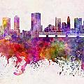 Columbus Skyline In Watercolor Background by Pablo Romero