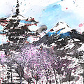 Combination No.32 Spring Time Mt.fuji And Pagoda by Sumiyo Toribe