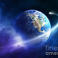 Comet Moving Passing Planet Earth by Johan Swanepoel