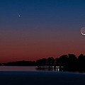 Comet Panstarrs And Crescent Moon by Charles Hite