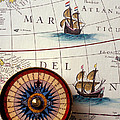 Compass And Old Map With Ships by Garry Gay