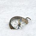 Compass In Snow by Jill Battaglia