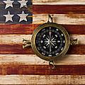 Compass On Wooden Folk Art Flag by Garry Gay