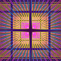 Computer Generated Fractal Squares Geometric Pattern by Keith Webber Jr