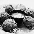 Conch Fritters With Sauce Served In A Restaurant Cafe In Key West Florida Usa by Joe Fox