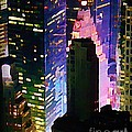 Concrete Canyons Of Manhattan At Night  by John Malone