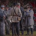 Confederate Civil War Reenactors With Rebel Confederate Flag by Randall Nyhof
