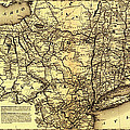 Connecticut And Western Railroad Map 1871 by Mountain Dreams