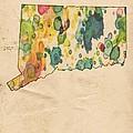 Connecticut Map Vintage Watercolor by Florian Rodarte