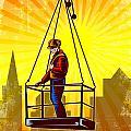 Construction Worker Platform Retro Poster by Aloysius Patrimonio