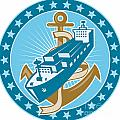 Container Ship Cargo Boat Anchor by Aloysius Patrimonio