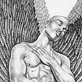 Contemplating Black Male Angel  by Dawn Rosendahl