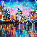 Contemporary Downtown Austin Art Painting Night Skyline Cityscape Painting Texas by Svetlana Novikova