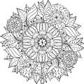 Contoured Mandala Shape Flowers For by Mashabr
