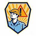 Contractor Construction Worker Caution Sign Retro by Aloysius Patrimonio