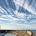 Contrails At Lyme Regis Harbour  by Susie Peek
