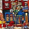 Conversation At St Viateur Bagel Paintings Mehadrin Kosher Deli Authentic Vintage Montreal Cspandau by Carole Spandau