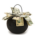 cooking Pot full of Money White Background by Keith Webber Jr