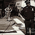 Cop And Girl - Mirror Image - New York City Street Scene by Miriam Danar