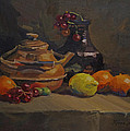 Copper Tea Pot And Fruit by Karen Fess