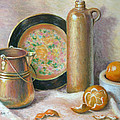 Copper Pot With Tangerines by Theresa Shelton
