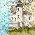 Coquille River Lighthouse Or Nautical Chart Map Art Cathy Peek by Cathy Peek