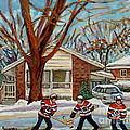 Cormac And Friends Neighborhood Hockey Game Ottawa Suburban City Scene by Carole Spandau