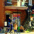 Corner Laurier Marche Maboule Depanneur Summer Stroll With Baby Carriage Montreal Street Scene by Carole Spandau