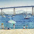 Coronado Beach And Navy Ships by Mary Helmreich