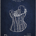 Corset Patent From 1882 - Navy Blue by Aged Pixel