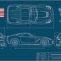 Corvette Stingray Blueplanprint by Douglas Switzer