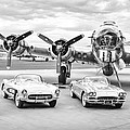 Corvettes And B17 Bomber -0027bw2 by Jill Reger