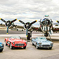 Corvettes And B17 Bomber -0027c23 by Jill Reger