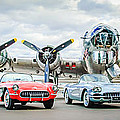 Corvettes With B17 Bomber by Jill Reger