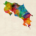 Costa Rica Watercolor Map by Michael Tompsett