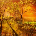 Cottage By The Lake-original Sold- Buy Giclee Print Nr 32 Of Limited Edition Of 40 Prints  by Eddie Michael Beck