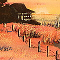 Cottage On Beach by Lynn Beazley Blair