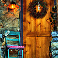 Country Cottage Door At Christmas by K D Graves