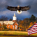 country Eagle Church Flag Patriotic by Randall Branham